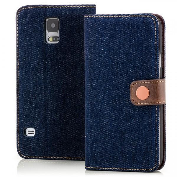 Jeans Style Tasche für Samsung Galaxy S5 Dunkelblau