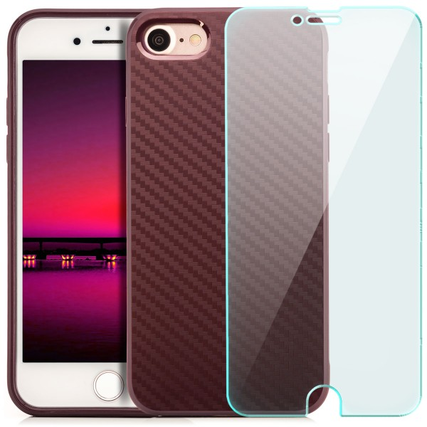 "Silikon Carbon Back Cover für Apple iPhone 8 / 7 (4,7"") - Lila + GLAS"