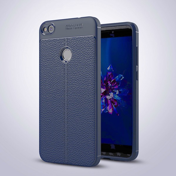 Litchi Soft Back Cover für Huawei P8 Lite (2017) - Blau