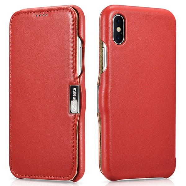 Zanasta Echtleder Luxury Tasche für Apple iPhone X - Rot