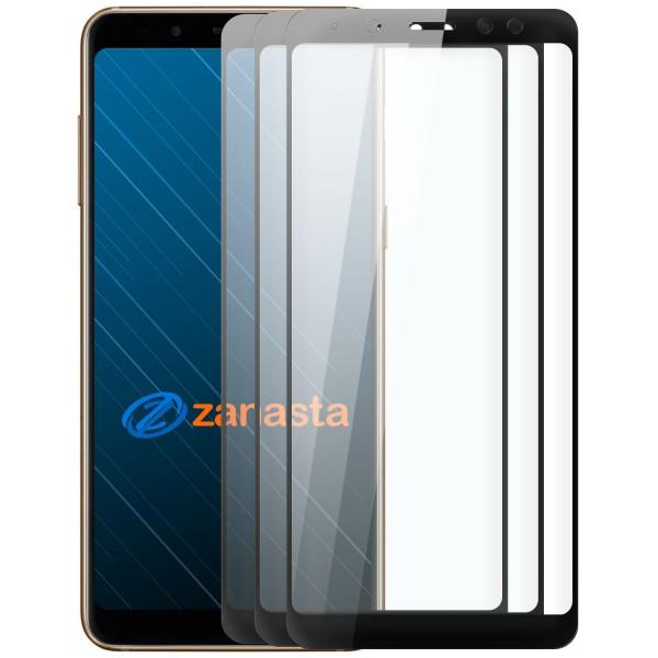 3x Full Cover Displayschutzglas für Samsung Galaxy A8 (2018) - Schwarz