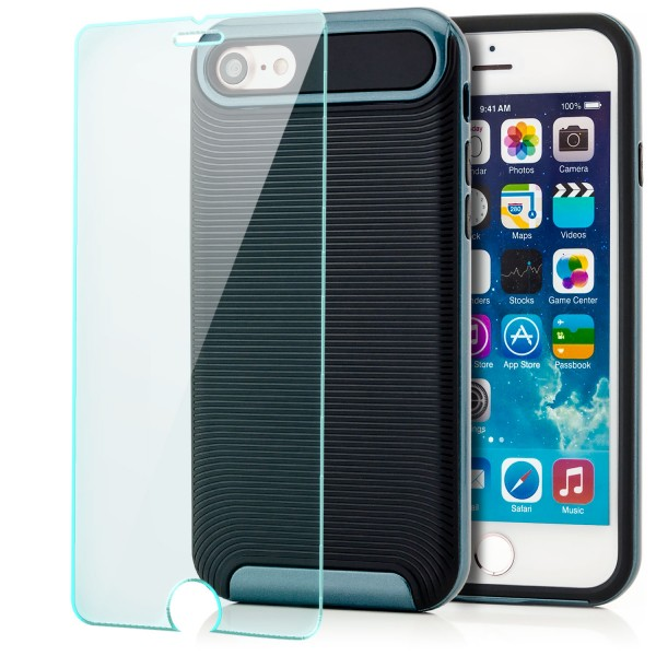 "Ar-Silikon Back Cover Typ 2 für Apple iPhone 8 / 7 (4,7"") -Dunkelblau + GLAS"