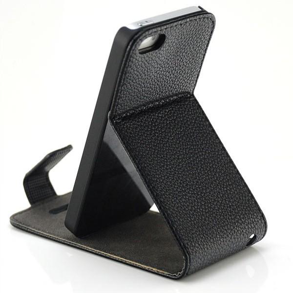 Skin-Style Vertical Stand Case für Apple iPhone 5 & 5S Schwarz