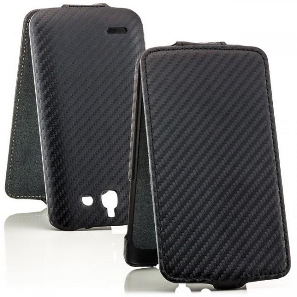 Carbon-Look Flip Case für Huawei Ascend G730 Schwarz