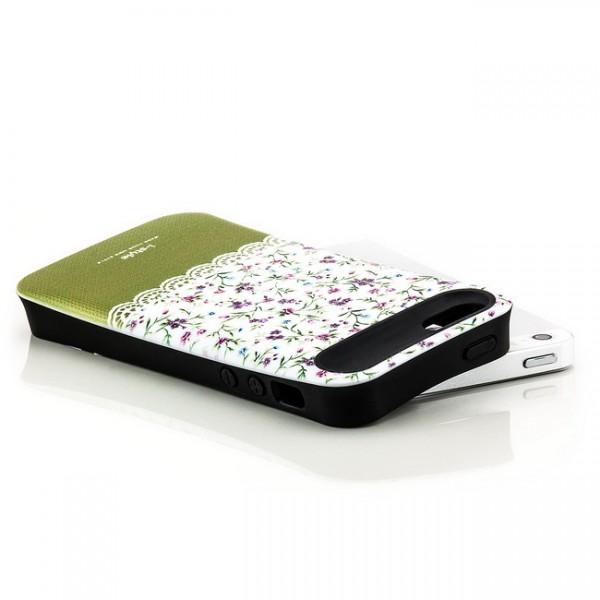 iStyle Blumen Back Cover für Apple iPhone 5 & 5S Weiß-Grün