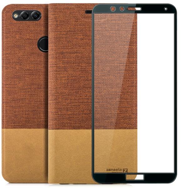 Kunstleder Slim Tasche für Huawei Honor 7X - Rotbraun + FC Glas S