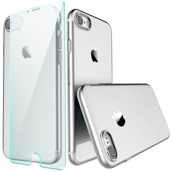 "Premium Ultra Slim Silikon Case für iPhone 8 / 7 (4,7"") - Transparent + GLAS"