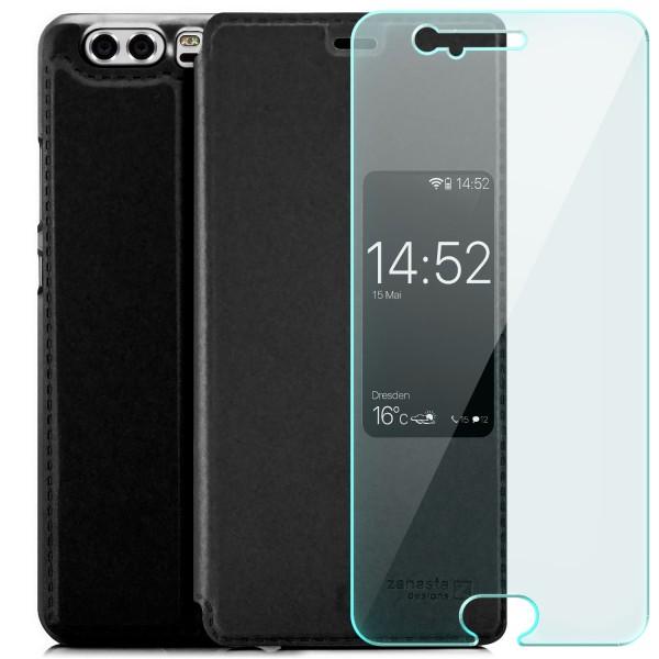 Kunstleder View Case für Huawei P10 - Schwarz + GLAS