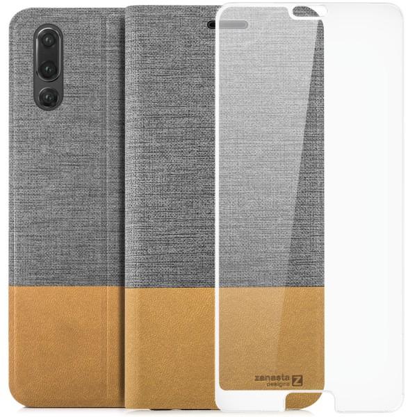Kunstleder Slim Tasche für Huawei P20 - Grau + FC Glas W