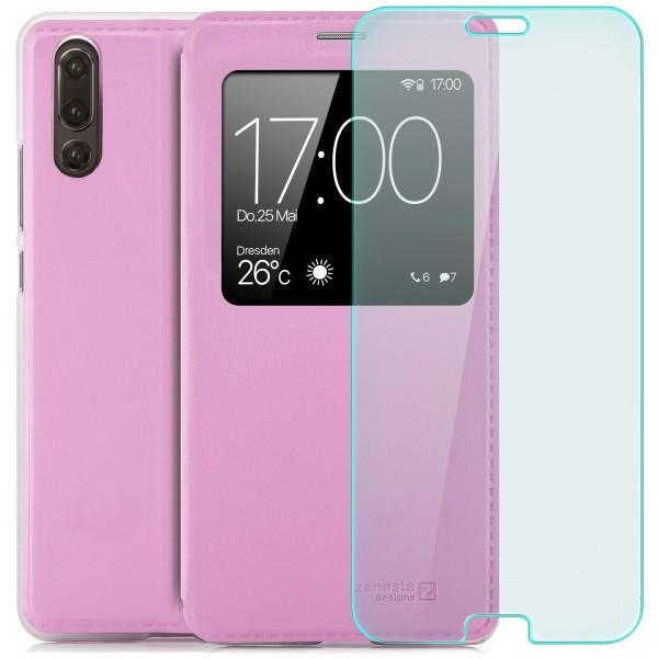 Kunstleder View Case für Huawei P20 - Rosa + Curved Glas T
