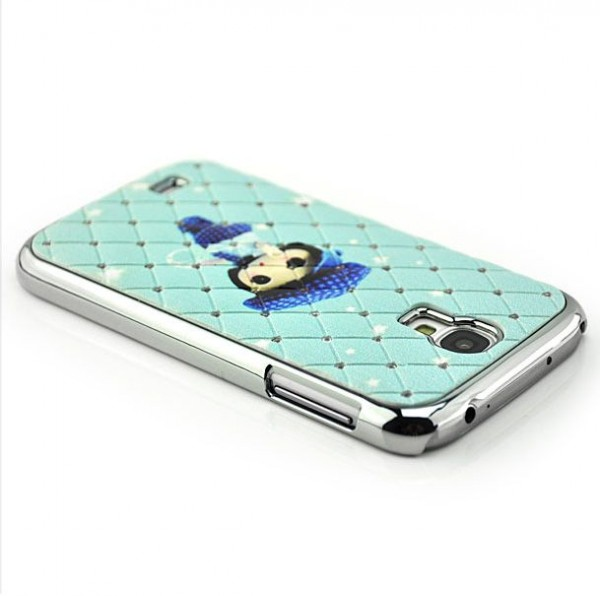 Diamanten-Netz Case Girl Cover für Samsung Galaxy S4 Blau