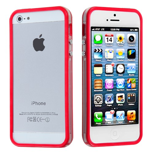 TPU & Silikon Bumper für Apple iPhone 5 & 5S Rot-Transparent