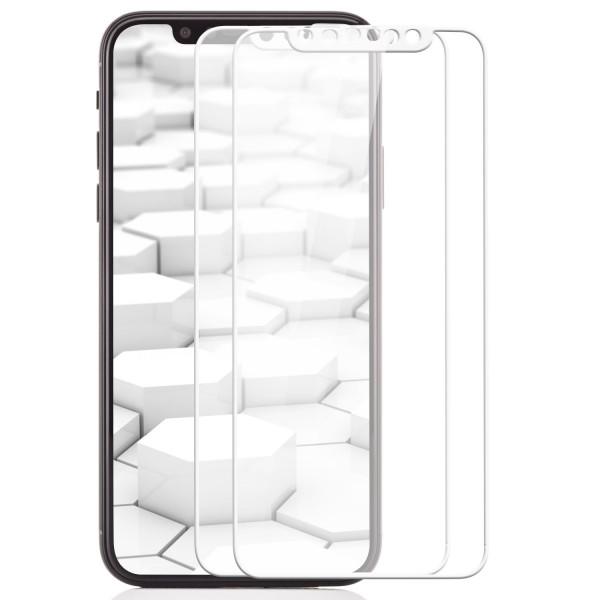 2x Curved Displayschutzglas für Apple iPhone X - Weiß