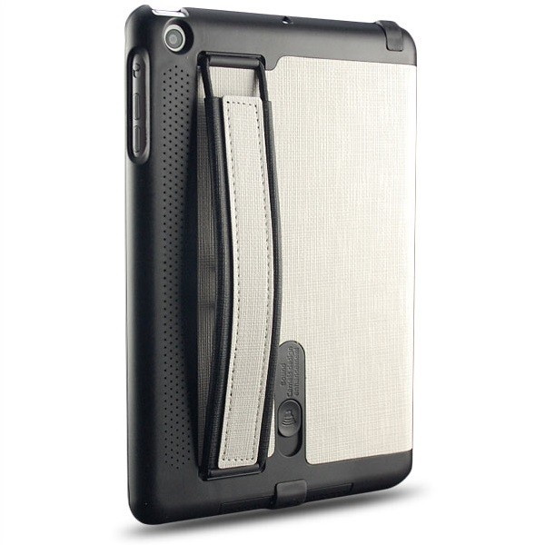 Handgurt Flip Case für Apple iPad Mini Weiß-Schwarz