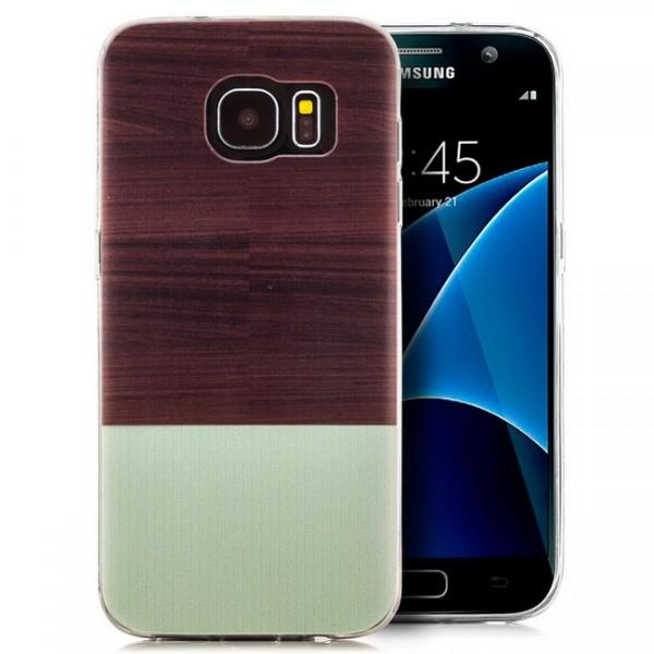 Silikon Motiv Case für Samsung Galaxy S7 - Braun & Grün