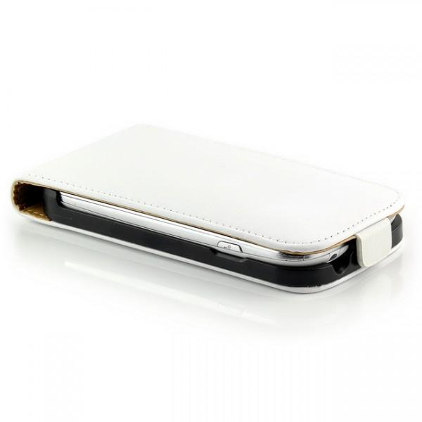 Flip Tasche mit Magnetverschluss für Samsung Galaxy S3 Mini Weiß
