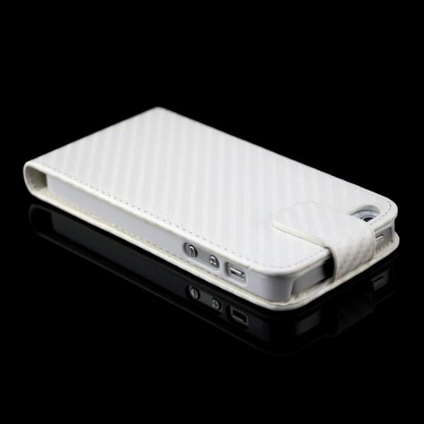 Carbon-Look Flip Tasche für Apple iPhone 5 5S SE Weiß