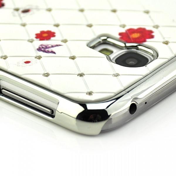 Diamanten-Netz Case Blumen Cover für Samsung Galaxy S4 Weiß