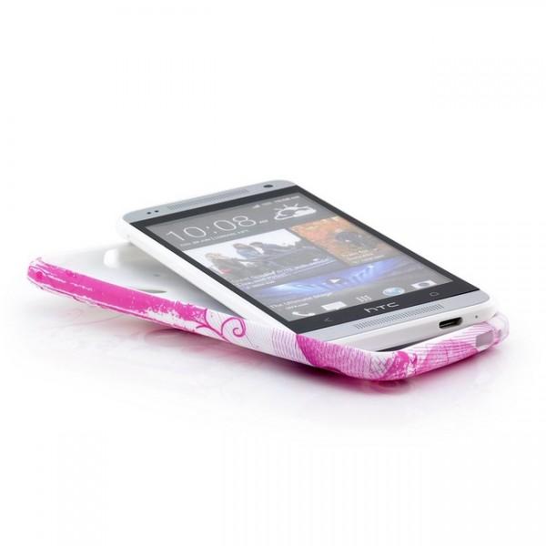 Blumen Silikon Back Cover für HTC One Mini M4 Pink-Herz