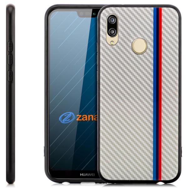 Carbon Hülle Rot-Blau Streifen für Huawei Enjoy 8 Plus