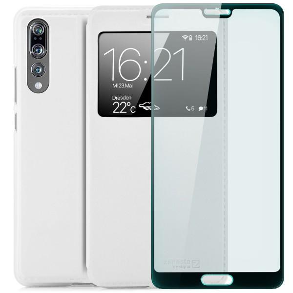 Kunstleder View Case für Huawei P20 Pro - Weiß + FC Glas S