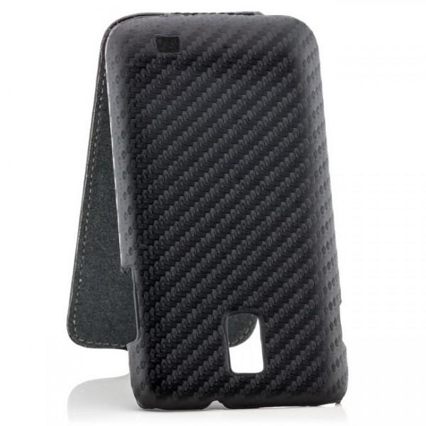 Carbon-Look Flip Tasche für Samsung Galaxy S2 LTE Schwarz