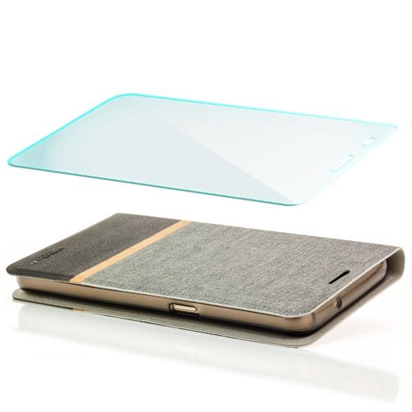 Kunstleder Streifen Tasche für Huawei Y6 - Grau + GLAS