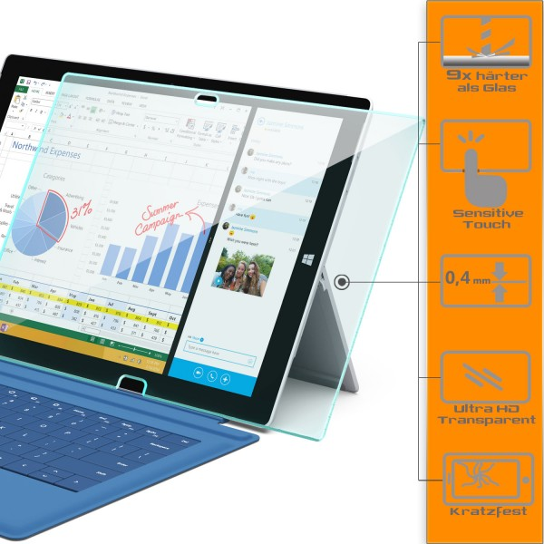 Displayschutzglas für Microsoft Surface Pro 3