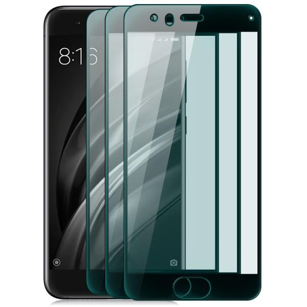 3x Full Cover Displayschutzglas für Xiaomi Mi 6 - Schwarz