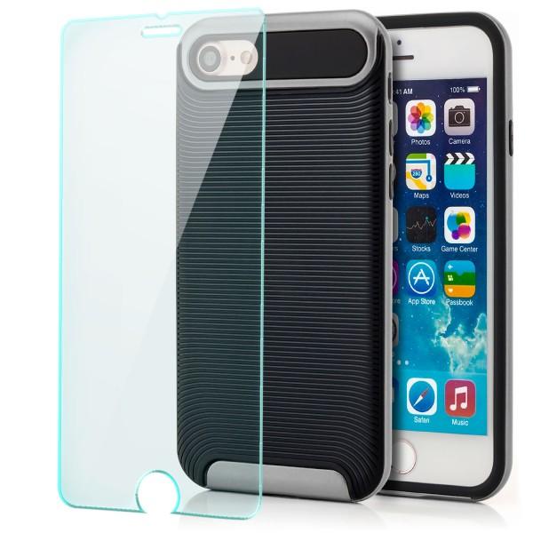 "Ar-Silikon Back Cover Typ 2 für Apple iPhone 8 / 7 (4,7"") - Schwarz-Silber +GLAS"