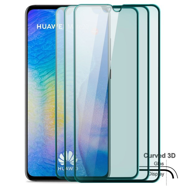 3x Curved Displayschutzglas für Huawei Mate 20 - Schwarz