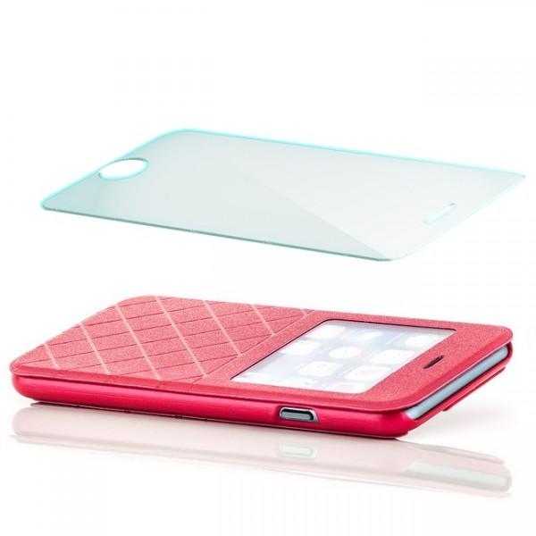 Grid Flip View Case für Apple iPhone 6 & 6S (4,7) Rot + Panzerglas