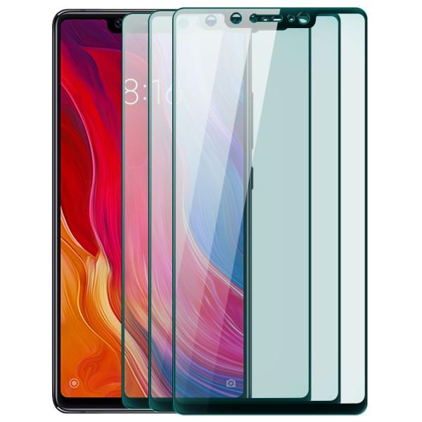 3x Full Cover Displayschutzglas für Xiaomi Mi 8 SE - Schwarz
