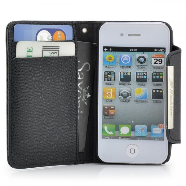 Business Visiten Tasche für Apple iPhone 4 & 4S Schwarz
