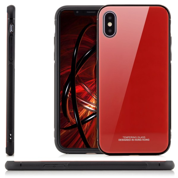 Tempering Glas Back Cover für iPhone X - Rot