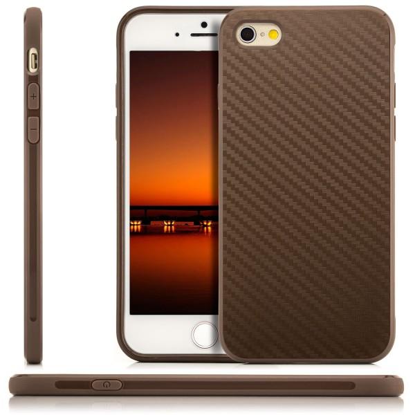"Silikon Carbon Back Cover für Apple iPhone 6 / 6S (4,7"") - Braun"