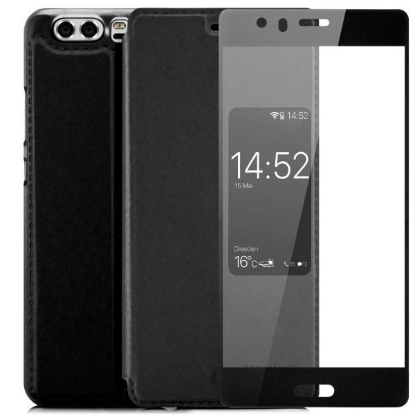 Kunstleder View Case für Huawei P10 - Schwarz + FC Glas S