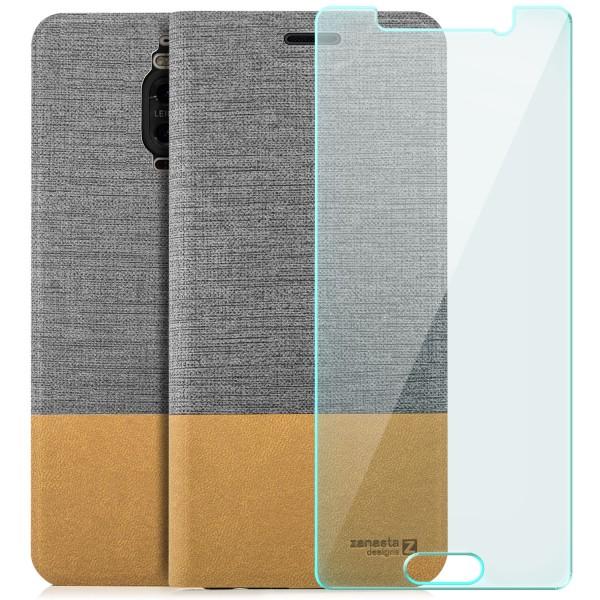Kunstleder Slim Tasche für Huawei Mate 9 Pro - Grau + GLAS