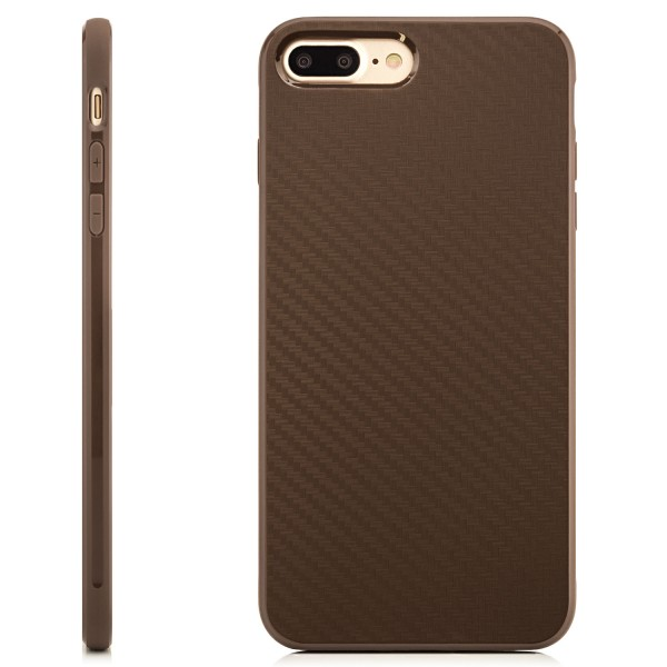 "Silikon Carbon Case für Apple iPhone 8 Plus / 7 Plus (5,5"") - Braun"