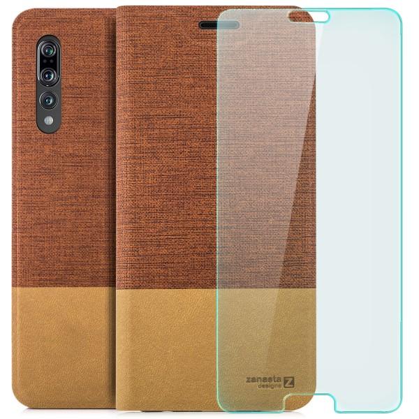 Kunstleder Slim Tasche für Huawei P20 Pro - Rotbraun + CURVED GLAS T