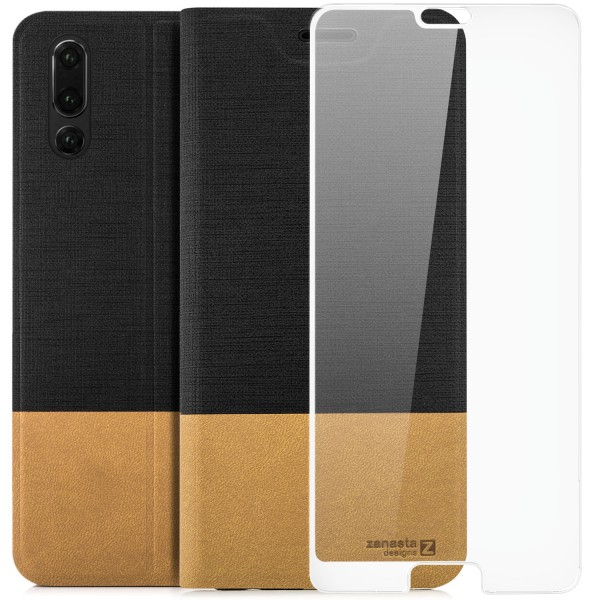 Kunstleder Slim Tasche für Huawei P20 - Schwarz + FC Glas W
