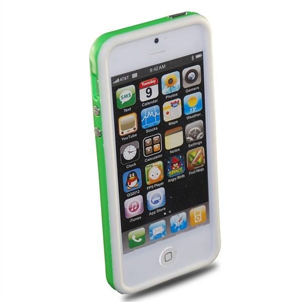 TPU & Silikon Bumper für Apple iPhone 5 & 5S Weiß-Grün