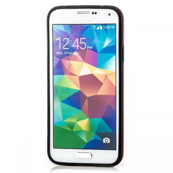 Cubes TPU Back Cover für Samsung Galaxy S5 Schwarz-Rot