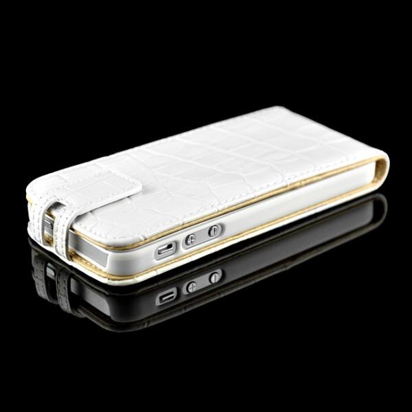 Kroko Flip Case für Apple iPhone 5S & 5 Weiß