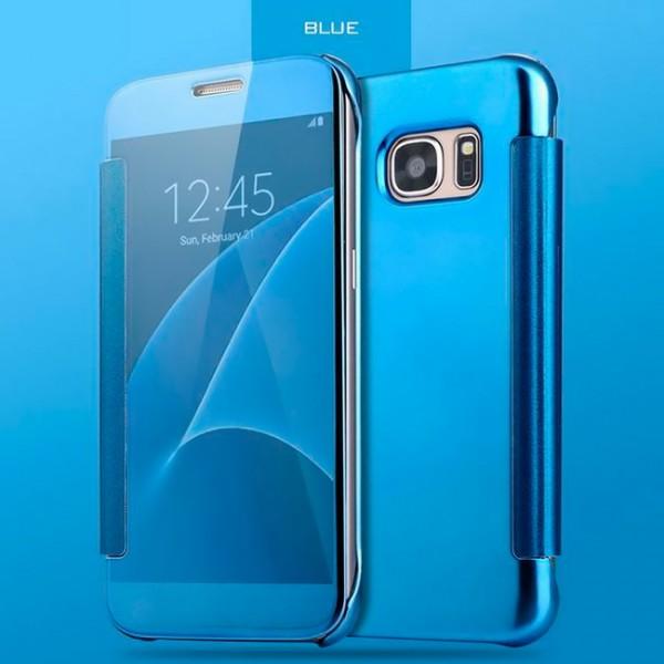Transparent Flip Case für Samsung Galaxy S7 Edge - Blau