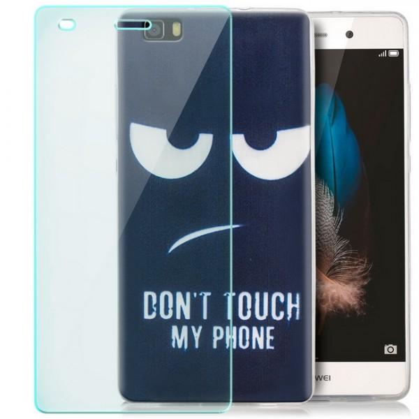 Silikon Motiv Case für Huawei P8 Lite (2015) - Dont Touch + GLAS