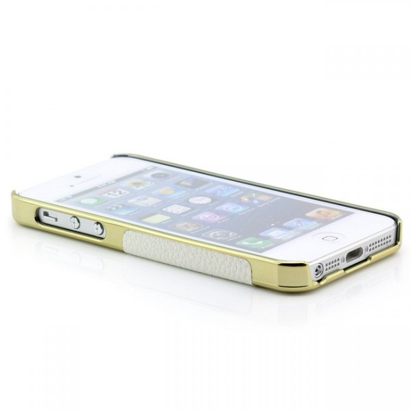 Skin-Style Back Cover für iPhone 5 5S SE Weiß-Gold