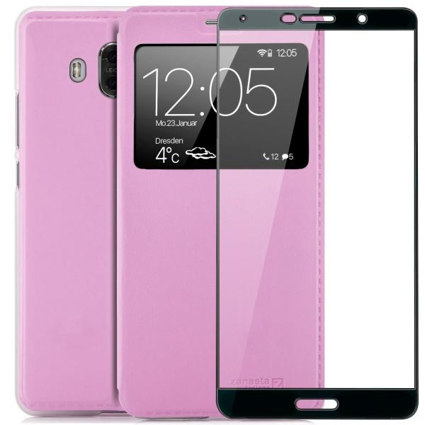 Kunstleder View Case für Huawei Mate 10 - Rosa + FC Glas S