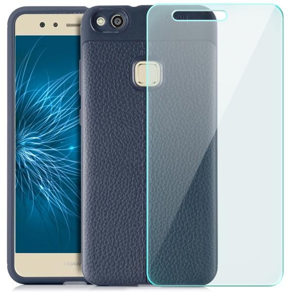 Litchi Soft Back Cover für Huawei P10 Lite - Blau + GLAS