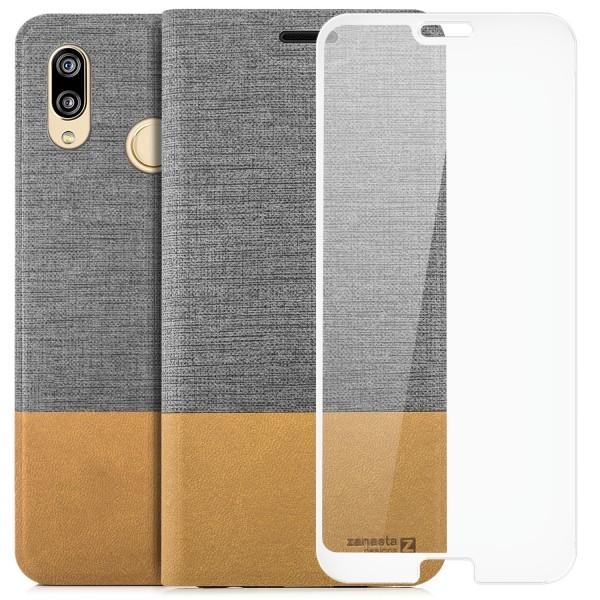 Kunstleder Slim Tasche für Huawei P20 Lite - Grau + FC Glas W